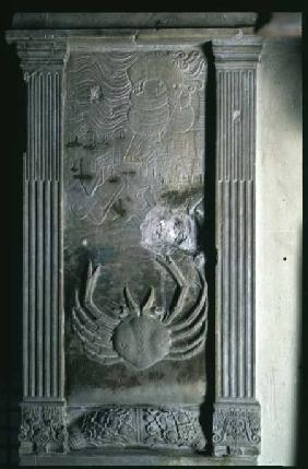 The Crab (Cancer) above an aerial view of Rimini from a series of reliefs depicting the planetary sy