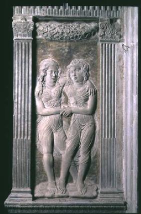 Gemini represented by the Twins from a series of reliefs depicting the planetary symbols and signs o