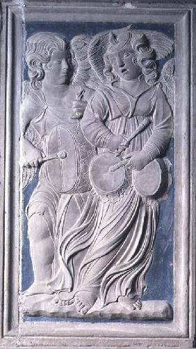 Two putti, one playing the tabor, the other playing the nakers, from the frieze of musical angels in