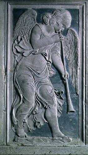 Putto playing the trumpet, from the frieze of musical angels in the Chapel of Isotta degli Atti