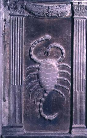 Scorpio represented by the scorpion from a series of reliefs depicting planetary symbols and signs o