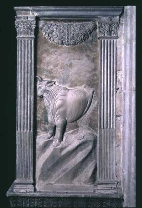 Taurus represented by the bull from a series of reliefs depicting planetary symbols and signs of the