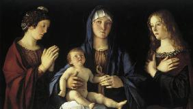Bellini, Giovanni c.1430 - 1516. ''Mary with the Child and two Saints'', (Mary Magdalene and St.Cath