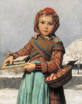 Schoolgirl with Slate and Sewing Basket