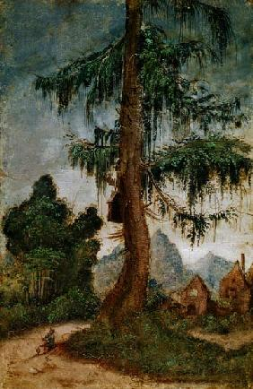 Landscape with wood carver