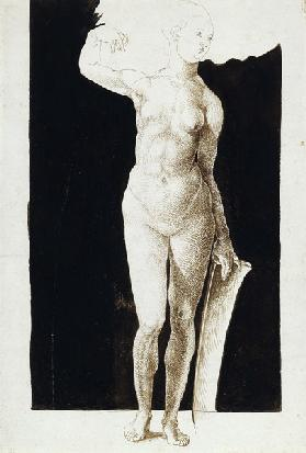 Proportion study of female nude with a shield
