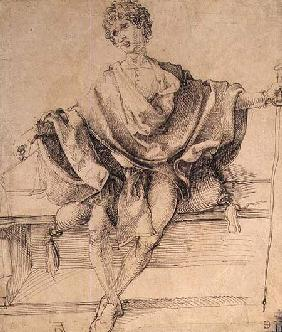 Seated Youth with Scales and a Cane