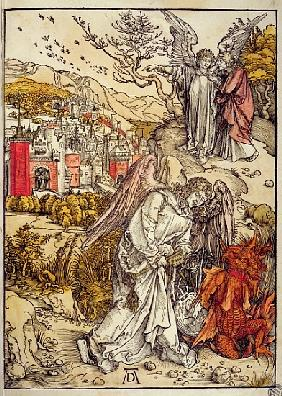 Angel with the Key of the Abyss, 1498 (colour woodcut)