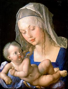 Virgin and child holding a half-eaten pear