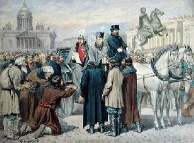 Emperor Alexander I (1777-1825) Reading a Manifesto in St. Petersburg 1861