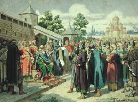 Reading of the Code in the Presence of Grand Duke Jaroslav of Novgorod