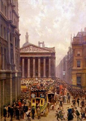 The Rush Hour by the Royal Exchange from Queen Victoria Street