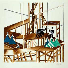 Set Design for a Jazz Musical, illustration from Maquettes de Theatre by Alexandra Exter, published
