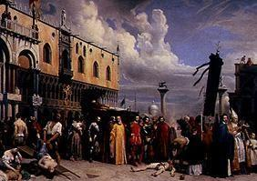 The burial Tizians during the plague in Venice 1576.