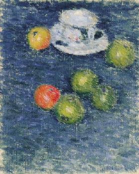 Still life. Apples and a cup