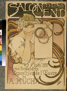 Poster for the A. Mucha's exhibition in the Salon des Cent