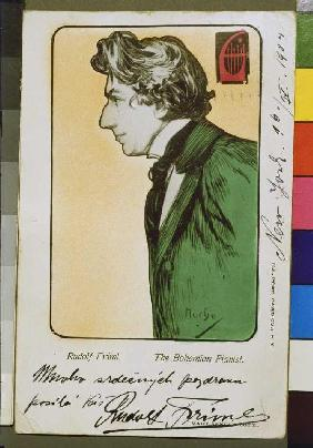 The Bohemian pianist Rudolf Friml postcard with dedication for a concert Tournée of the artist