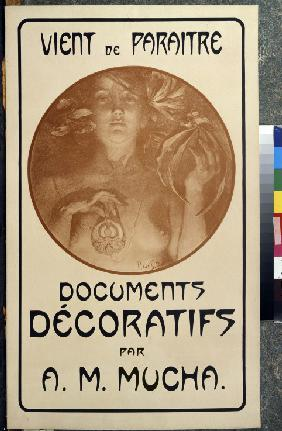 Advertisement for the monograph Decorative Documents by A. Mucha