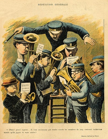 Image: Alfred Le Petit - Band rehearsal, from the back cover of ''Le Rire'', 16th April 1898