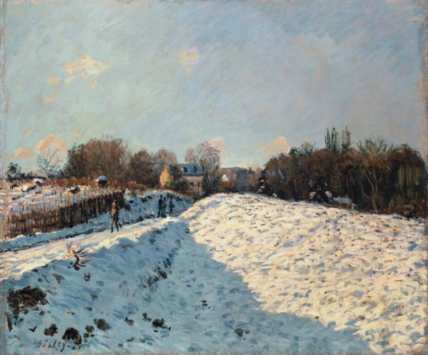 effect of snow at argenteuil alfred sisley as art print or hand painted oil. Black Bedroom Furniture Sets. Home Design Ideas