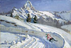 Tobogganing near the Matterhorn