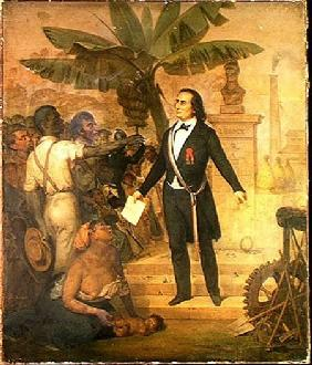 Joseph Napoleon Sebastien Sarda Garriga (1808-77) with the Emancipation Decree on La Reunion