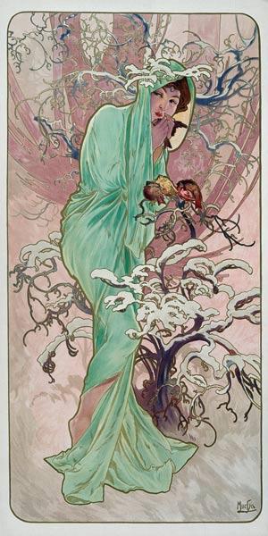 Seasons: Winter - Alfons Mucha as art print or hand ...