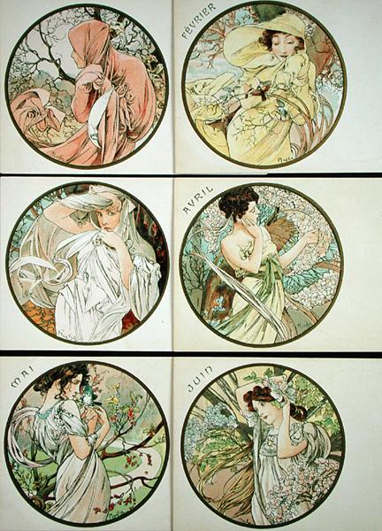 The Months - Alphonse Mucha as art print or hand painted oil.