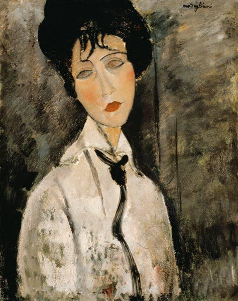 Célèbre Woman portrait with tie - oil painting on canvas of Amadeo  OB79