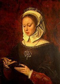 Young woman, reading in a prayer-book.