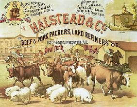 Beef & Pork Packers, c.1880 (colour litho)