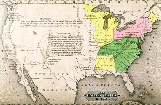Map Of The United States In From American School As Art - Us map 1803