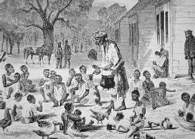 A cook feeding slave children on a Southern plantation, c.1860 (engraving)
