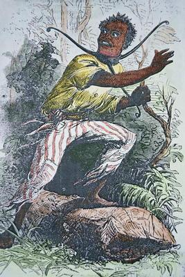 A runaway slave in the USA wearing a pronged slave-collar to hamper escape (colour litho)