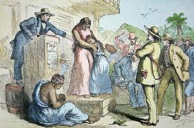 A slave auction in the Deep South, c.1850 (coloured engraving)