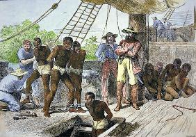 African slaves being taken on board ship bound for USA (coloured engraving)