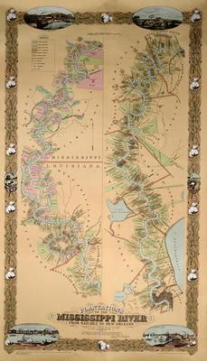 Map depicting plantations on the Mississippi River from Natchez to New Orleans, 1858 (colour litho)