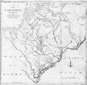 Map of the Carolinas with part of Georgia (engraving)