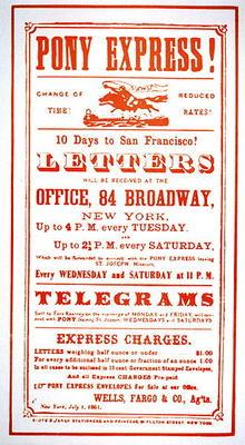 Pony Express Poster, 1861 (litho)