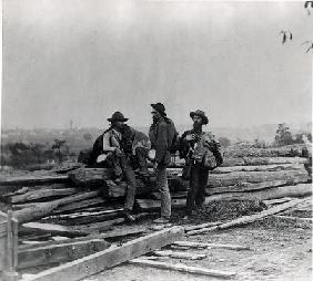 Three Confederate Prisoners, Gettysburg, Pennsylvania (b/w photo)
