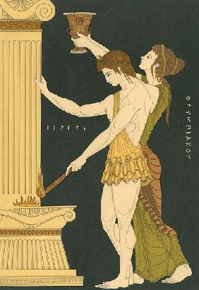 Ancient Greeks Lighting the First Olympic
