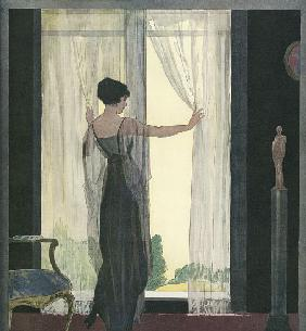 Fashionable Woman Opening the Curtains Inside a Dark Room