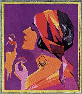 Flapper in a Scarf Applying Makeup