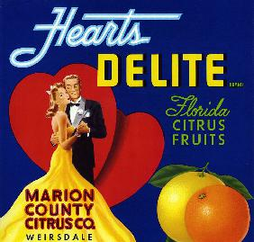 Hearts Delite Fruit Crate Label