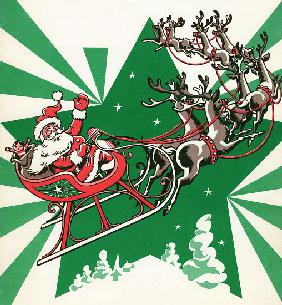 Santa Flying with His Reindeer