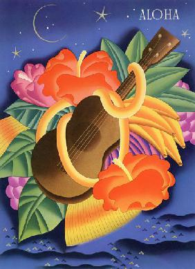 Symbols of Hawaii Including a Ukelele and Hibiscus Blossoms