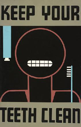 Vintage ?Keep Your Teeth Clean? Poster