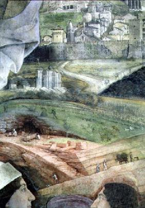 The Arrival of Cardinal Francesco Gonzaga; marble quarry workings and an idealised view of Rome, fro