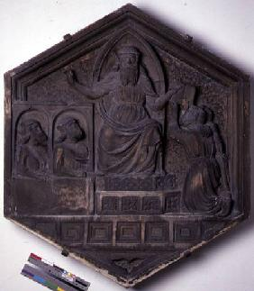 The Art of Law, hexagonal decorative relief tile from a series depicting the practitioners of the Ar