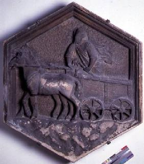 The Art of Theatre, hexagonal decorative relief tile from a series depicting the practioners of the
